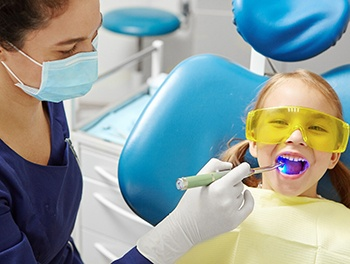 child getting a dental filling